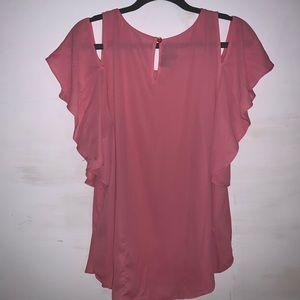 Flowy split shoulder sleeve pink blouse